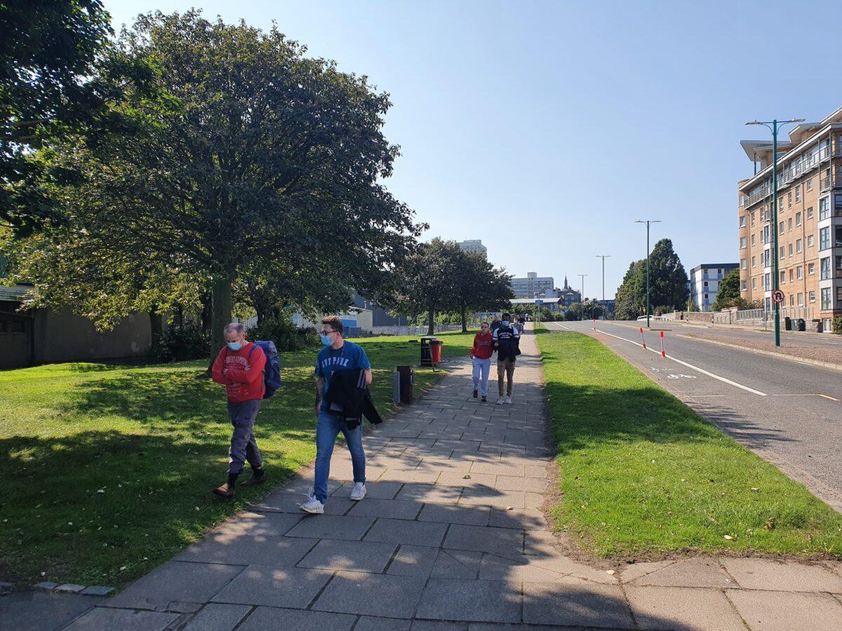walking group beach boulevard sunny